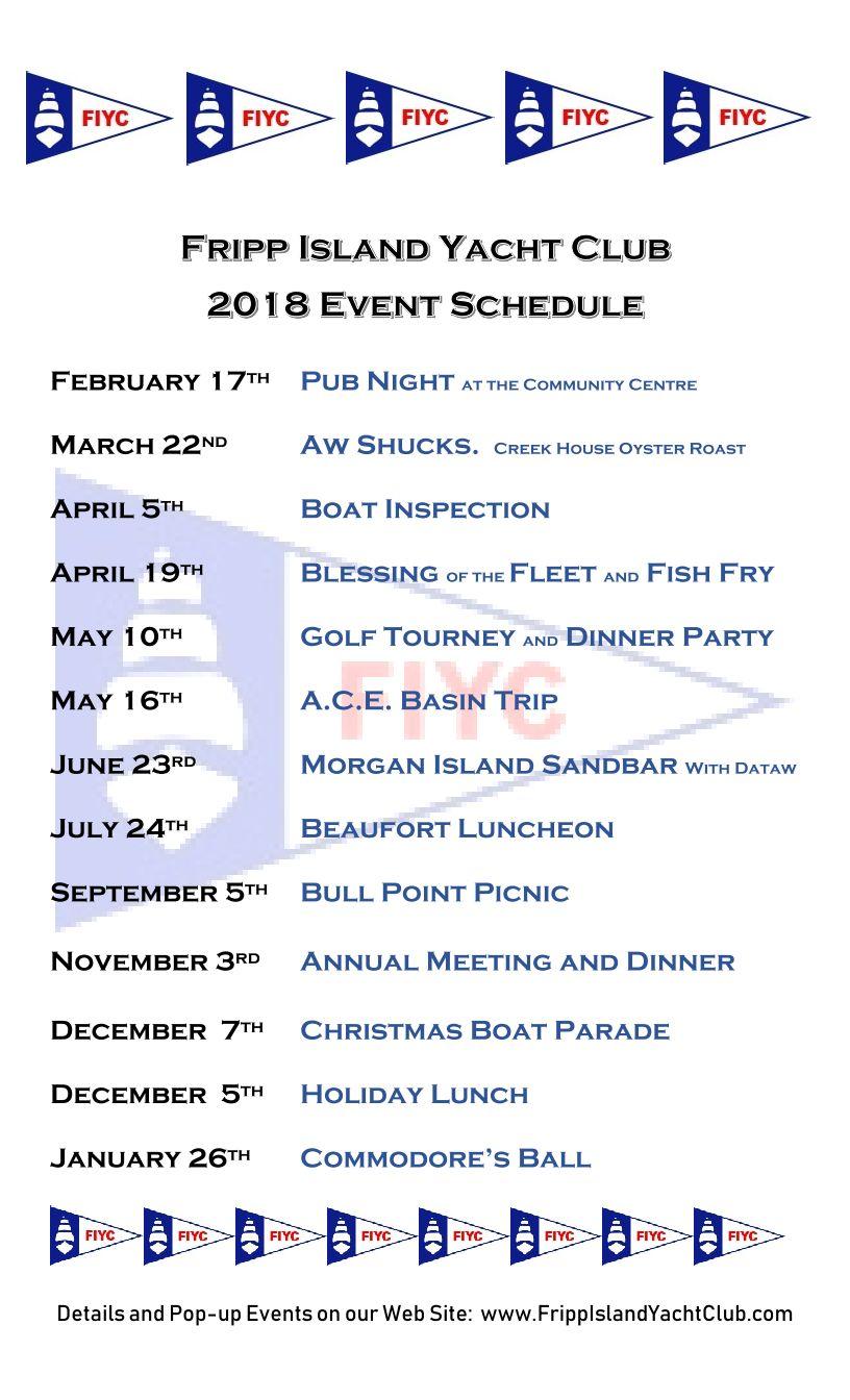 event schedule fripp island yacht club